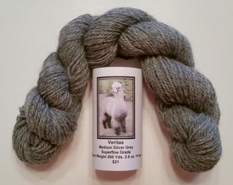 Alpaca Yarn Silver Grey Superfine Sport Weight 200 yds./2.8 oz.