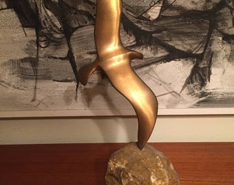 1974 signed and dated Curtis Jere Bird in Flight Mid Century Modern Sculpture