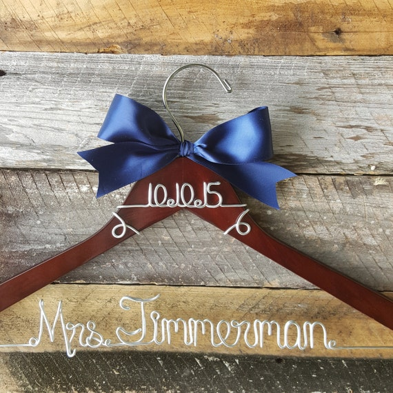 Personalized Custom Wire Wedding Hanger With Bow Wire Wedding