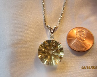 Laarge Round Accented Natural Citrine Pendant