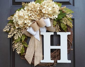 Cream Hydrangea Wreath,Summer Wreath,Farmhouse Wreath,Year Round Wreath,Front Door Wreath,Grapevine Wreath,Mother's Day Gift,Wreath for Door