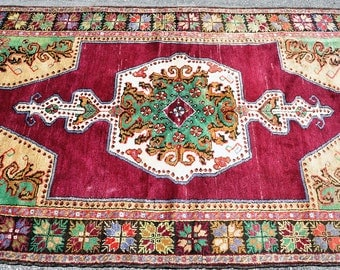 Amazing Green and Burgundy Turkish Rug -- 7 ft. 7 in. by 4 ft. 2 in.