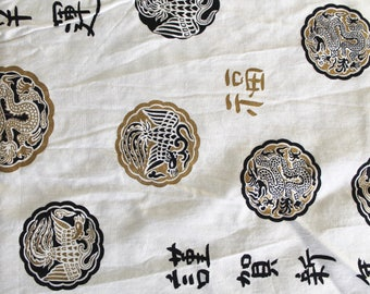 Vintage White, Black, and Gold Asian Print Cotton Fabric -2.16 Yards