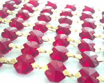 2 Yards Red Chandelier Wedding Crystals Octagon Prisms Shabby Chic Chains