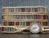 tile wrap bracelet- pastel jewel tone tile on pearl white leather- boho gypsy bohemian wedding - stained glass