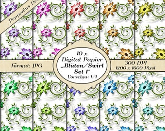 10 x digital paper - set flowers swirl 1 / DP102