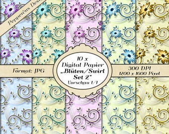 10 x digital paper - set flowers swirl 2 / DP103
