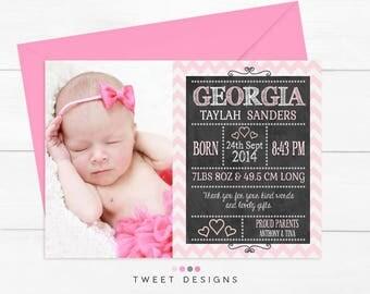 BABY GIRL Thank you, Printable Baby Thank you Card, Baby Girl Thank you Card, Birth Announcement, Girl Chalkboard Birth Announcement