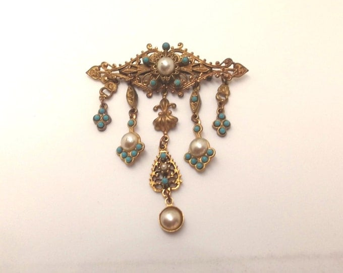 Vintage Pearl Turquoise Brooch, Filigree Dangle Pin, Victorian Revival Pin, Designer Signed