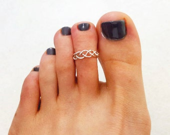 Braided Toe Ring- Sterling Silver, Adjustable Toe Ring, Midi Ring, Braid Toe Ring, Midi Ring, 925 Sterling Silver, Summer Jewelry, Toe Ring