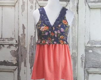 Peach and Purple, Upcycled Clothing, Tunic Dress, Boho Chic, Eco Fashion, Junk Gypsy Style