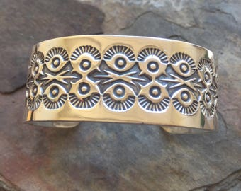 Sterling Silver Native American Large Cuff Bracelet Etched Signed Navajo