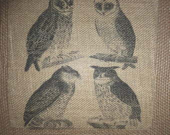 Four Owls Burlap Picture