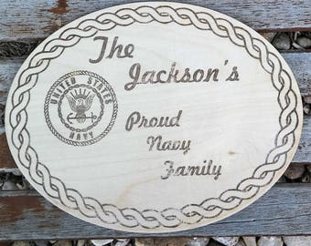 Laser Engraved/Etched Military Family Wall Plaque