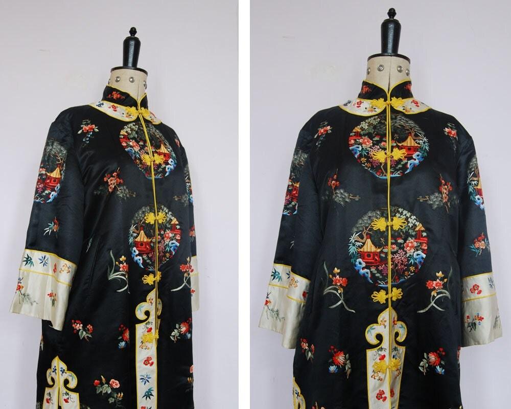 Nike jacket chinese - Vintage 1960s Chinese Hand Embroidered Silk Robe Chinese Embroidered Silk Jacket Vintage Chinese Silk