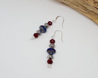 Navy Blue and Silver Traditional Earrings - Navy Blue Earrings - Silver Earrings - Traditional Earrings