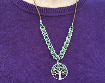Tree of Life Apple Tree Chainmaille Necklace Green Jasper