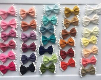 Choose ANY Color // ONE Pom Pom Felt Bow // Nylon Headband // One Size Fits All