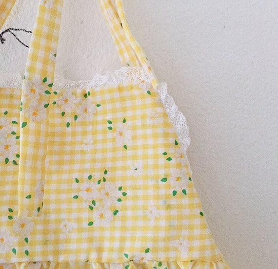 Sale!!!! The cutest summer/ picnic /gingham/ yellow /70s /Flower/baby girl dress...