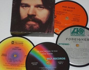 CLASSIC ROCK Coaster Set, vinyl record drink coasters