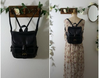 Vintage 90s Black Leather Small Backpack GH Bass and Co Black Mini G.H. Bass & Co Bucket Style Zippered Top Backpack
