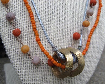 Multi Strand Earthy Necklace with Ethiopian Brass Ring Beads : Fall Festive African Accents