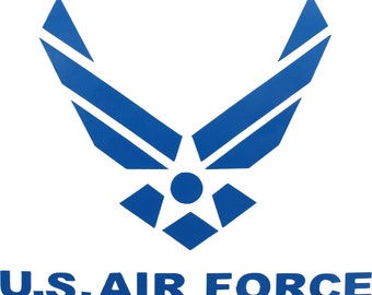 """Blue USAF Air Force Wings Logo Window Decal 4"""" x 4.75"""""""