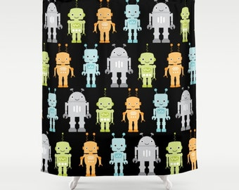 Robots Shower Curtain, Robot Bathroom, Boys Shower Curtain, Kids Bathroom,  Childrens Shower