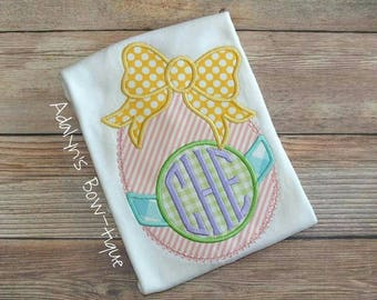 monogrammed girly bow Easter egg applique embroidered ruffle girls shirt, baby bodysuit or infant gown