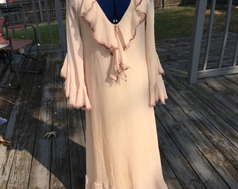 Pure silk chiffon 3 layer Ruffle long dress