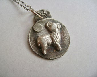 little ram artisan pendant necklace,  sterling