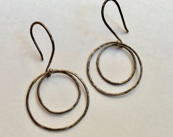 vintage sterling artisan double hoops