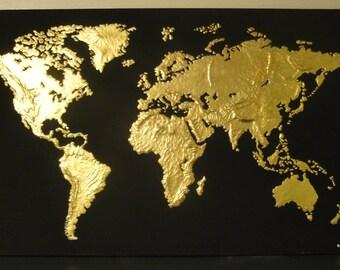 Golden World Sculpted Painting.