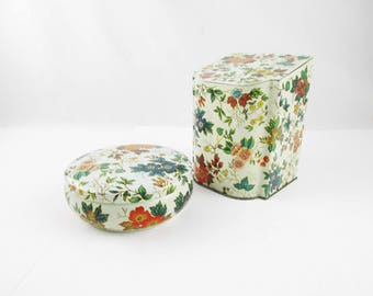 Matching Pattern Tins - Slant-Top Flip Lid - Small Cushion Canister - Boudoir - Bathroom - Stash and Store - Made in England - Lidded Tins