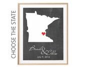 Minnesota Map, Ciustom Wedding Gift For Newlyweds, Minnesota Art, Chalkboard Map, 1st Anniversary Gift For Husband, New Home Gift For couple