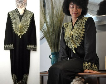 Black Kaftan Robe with Gold Embroidery // One size fits most