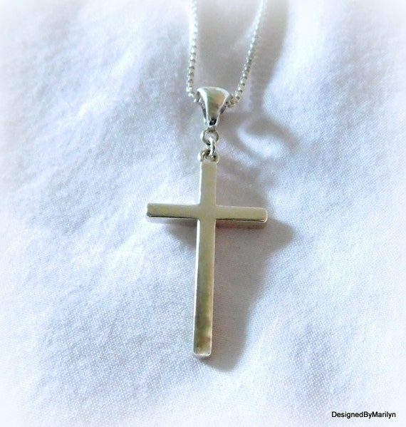 Sterling silver cross necklace, crucifix necklace, religious jewelry, spiritual jewelry, wedding jewelry, faith