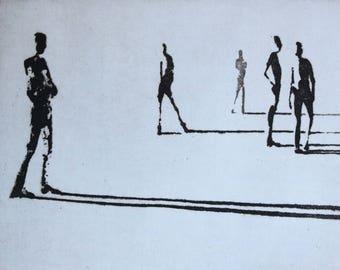 "Haunting Figure Intaglio Print,  ""Paths I"""