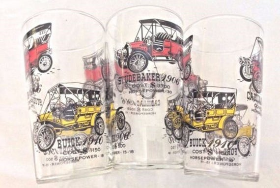 Mid Century Glass Barware With Antique Ford Cadillac Buick Studebaker Automobile Graphics, Vintage Glassware
