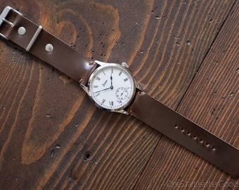 Horween shell cordovan two piece watch band - brown