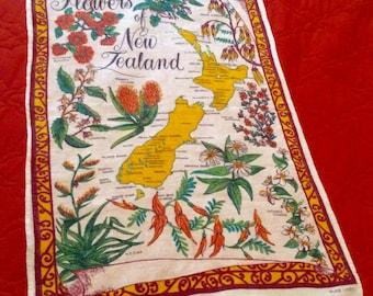 Vintage Linen Tea Towel New Zealand Flowers