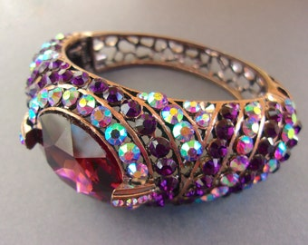 Purple and AB Rhinestone Hinged Cuff Bracelet, Copper Tone, Open Work Setting, Vintage