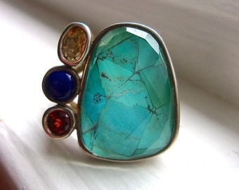 Multi Gem Sterling Silver WHITNEY KELLY Ring, Turquoise Quartz, Citrine, Lapis, Garnet, Vintage sz 11
