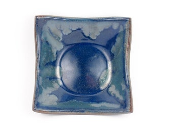 Square appetizer dish in cobalt blue with sky blue accents