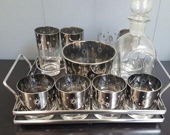 Mid Century Modern Silver Ombre Starburst 12 pc Barware Set