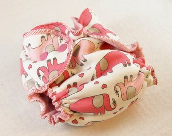 Newborn Fitted Cloth Diaper - Elephants