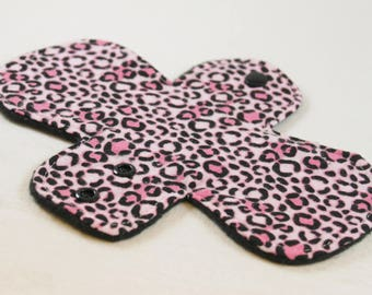 "Reusable Cloth Pad - 8"" Pantyliner - Pink Leopard Flannel"