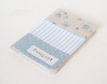 Zakka style passport cover - holder in dots, stripes and roses light blue fabric