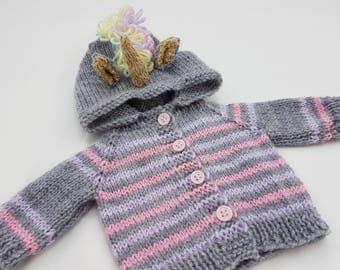 "Unicorn Waldorf Doll Hoodie / Sweater for 15"" Waldorf Doll / Unicorn / Grey, Lilac and Pink colourway"