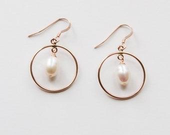 Rose Gold Filled Pearl Hoop Earrings